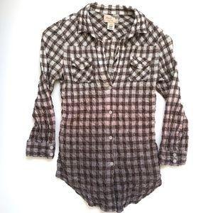 Elizabeth & James Cohen Dip Dye Ombré Plaid Shirt